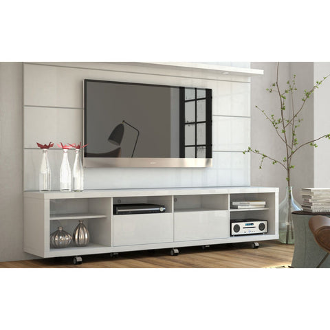 Manhattan Comfort Cabrini TV Stand and Floating Wall TV Panel with LED Lights 2.2 - White Gloss - TV Stands