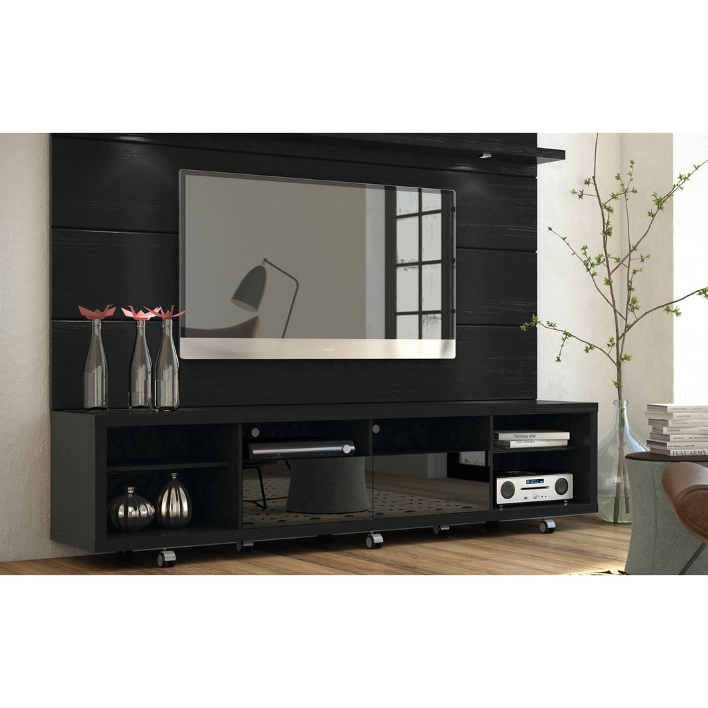 Manhattan Comfort Cabrini TV Stand and Floating Wall TV Panel with LED Lights 2.2 - Black Gloss and Black Matte - TV Stands
