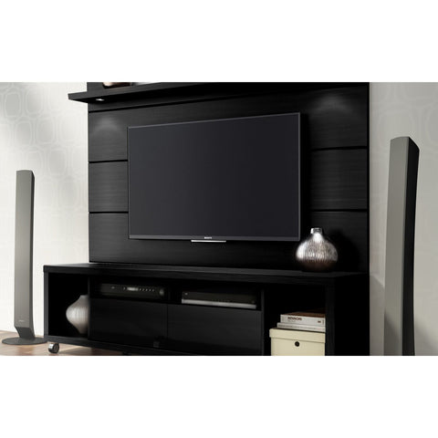 Manhattan Comfort Cabrini TV Stand and Floating Wall TV Panel with LED Lights 1.8 - Nut Brown - TV Stands