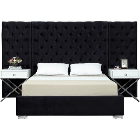 Meridian Furniture Grande Velvet King Bed - Black - Bedroom Beds