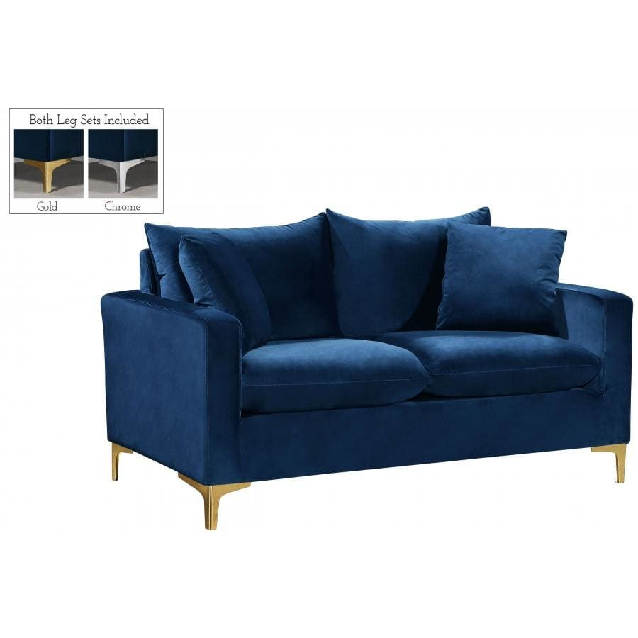 Meridian Furniture Naomi Velvet Loveseat - Navy - Loveseats
