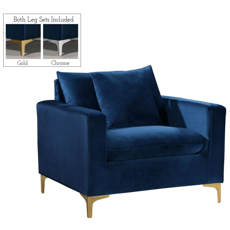 Meridian Furniture Naomi Velvet Chair - Navy - Chairs