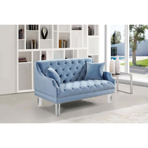 Meridian Furniture Roxy Velvet Loveseat - Sky Blue - Loveseats