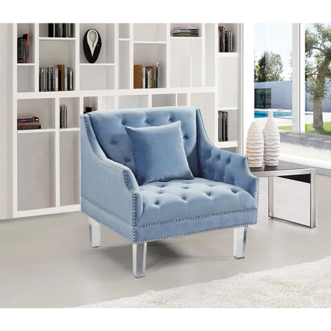 Meridian Furniture Roxy Velvet Chair - Sky Blue - Chairs