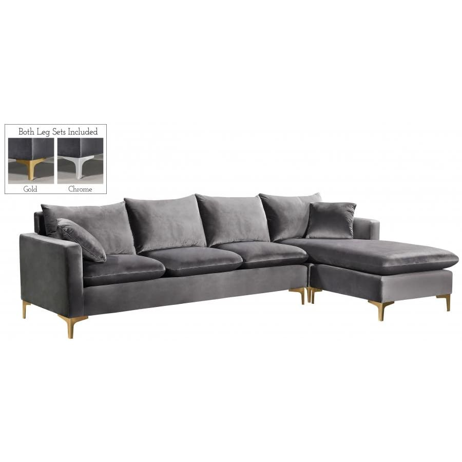 Meridian Furniture Naomi Velvet Reversible Sectional - Grey - Sofas