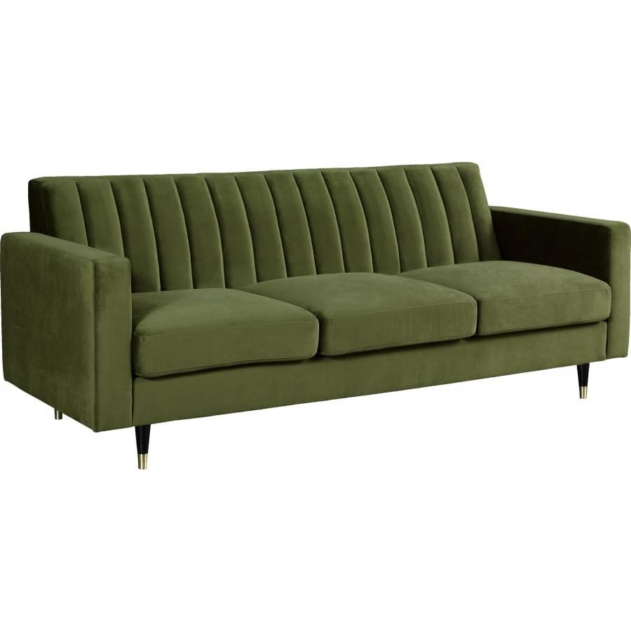 Meridian Furniture Lola Velvet Sofa - Olive Green - Sofas