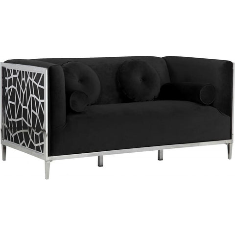 Meridian Furniture Opal Velvet Loveseat - Black - Loveseats