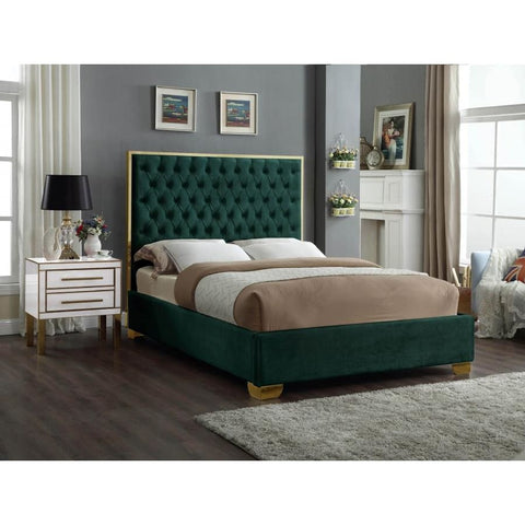 Meridian Furniture Lana Velvet Queen Bed - Green - Bedroom Beds