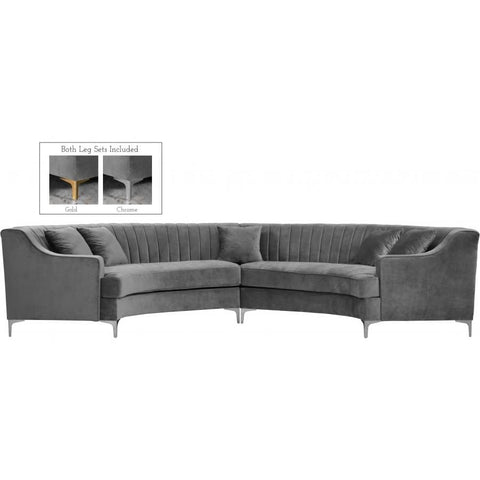 Meridian Furniture Jackson Velvet 2pc. Sectional - Grey - Sofas