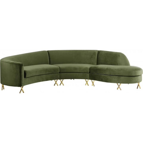 Meridian Furniture Serpentine Velvet 3pc. Sectiona - Olive - Sofas