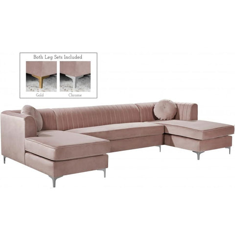 Meridian Furniture Graham Velvet 3pc. Sectional - Pink - Sofas