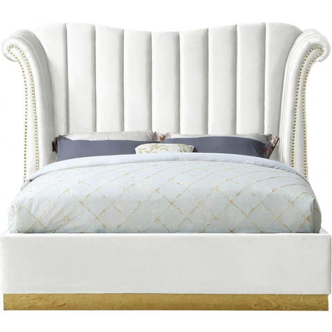 Meridian Furniture Flora Velvet Queen Bed - White - Bedroom Beds