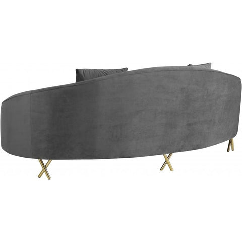 Meridian Furniture Serpentine Velvet Sofa - Grey - Sofas