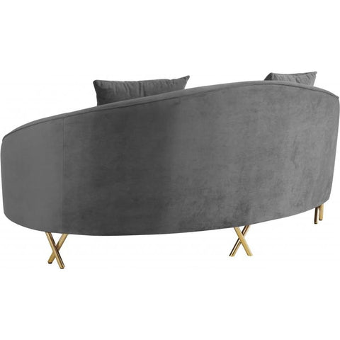 Meridian Furniture Serpentine Velvet Loveseat - Grey - Loveseats