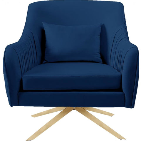 Meridian Furniture Paloma Velvet Swivel Accent Chair - Navy - Chairs