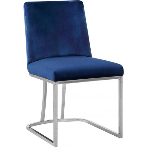 Meridian Furniture Heidi Velvet Dining Chair-Set of 2 - Navy - Dining Chairs
