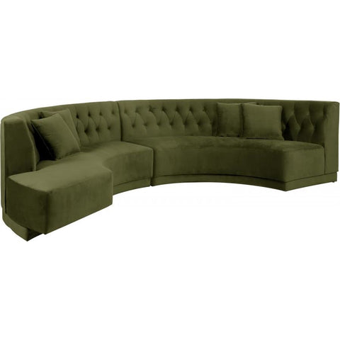 Meridian Furniture Kenzi Velvet 2pc. Sectional - Olive - Sofas