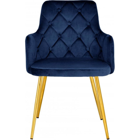 Meridian Furniture Salvatore Velvet Dining Chair-Set of 2 - Navy - Dining Chairs