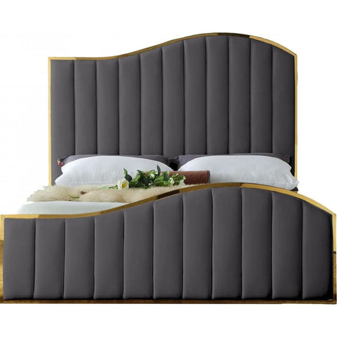 Meridian Furniture Jolie Velvet King Bed - Grey - Bedroom Beds