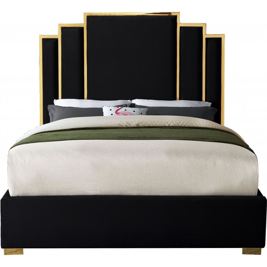 Meridian Furniture Hugo Velvet Queen Bed - Black - Bedroom Beds