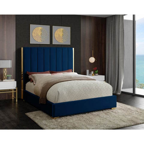 Meridian Furniture Becca Velvet Queen Bed - Navy - Bedroom Beds