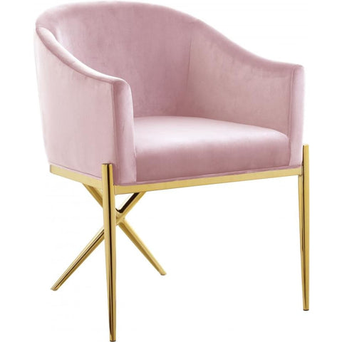 Meridian Furniture Xavier Velvet Dining Chair-Set of 2 - Pink - Dining Chairs