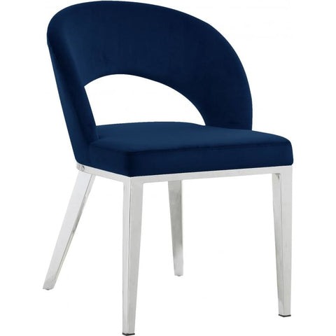Meridian Furniture Roberto Velvet Dining Chair-Set of 2 - Navy - Dining Chairs