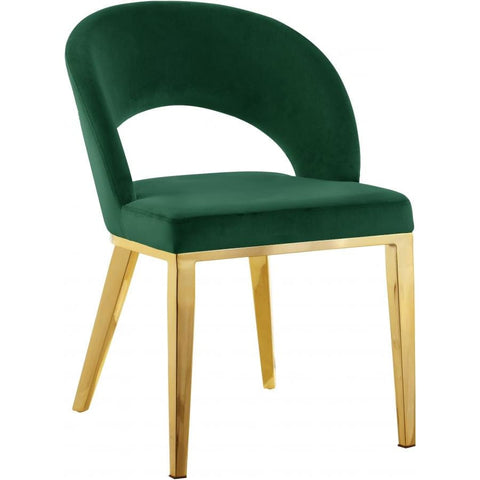 Meridian Furniture Roberto Velvet Dining Chair-Set of 2 - Green - Dining Chairs