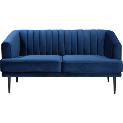 Meridian Furniture Rory Velvet Loveseat - Navy - Loveseats