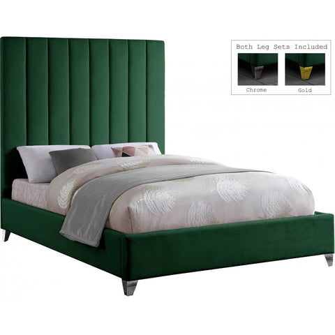 Meridian Furniture Via Velvet Full Bed - Green - Bedroom Beds