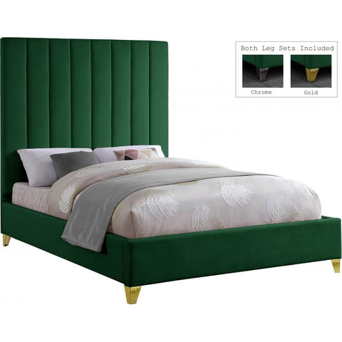Meridian Furniture Via Velvet Queen Bed - Green - Bedroom Beds