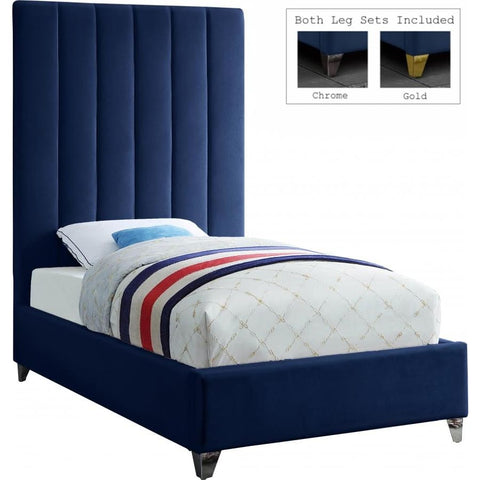 Meridian Furniture Via Velvet Twin Bed - Navy - Bedroom Beds