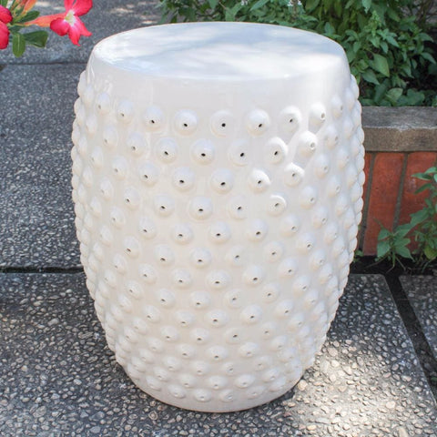 International Caravan Perforated Drum Ceramic Garden Stool - Navy Blue Glaze - Outdoor Furniture