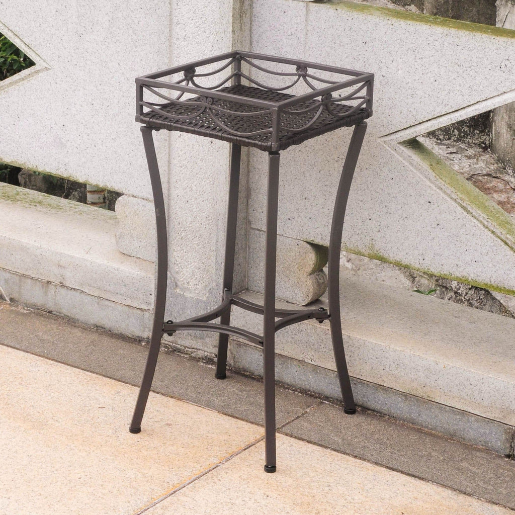 International Caravan Valencia Resin Wicker/Steel Square Plant Stand - Chocolate - Outdoor Furniture