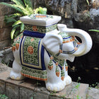 International Caravan Large Porcelain Elephant Stool - White Mix - Outdoor Furniture