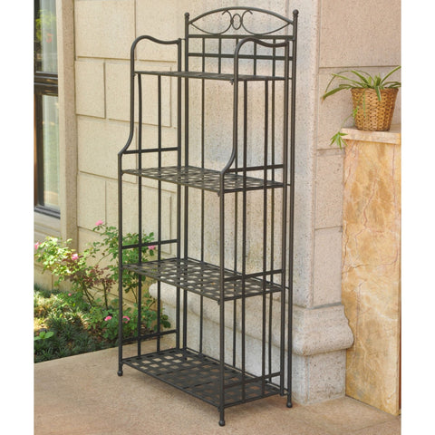 International Caravan Santa Fe Nailhead 4-Tier Bakers Rack - Rustic Brown - Shelves & Cases