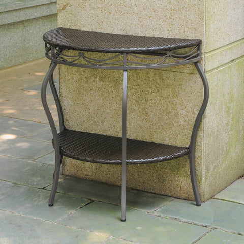 International Caravan Valencia Resin Wicker/Steel Two Tier Half Moon Wall Table - Chocolate - Other Tables