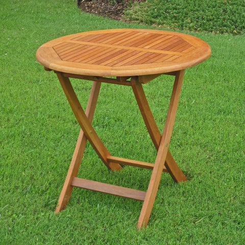 International Caravan Royal Tahiti Outdoor Wooden 28 Round Folding Table - Outdoor Furniture
