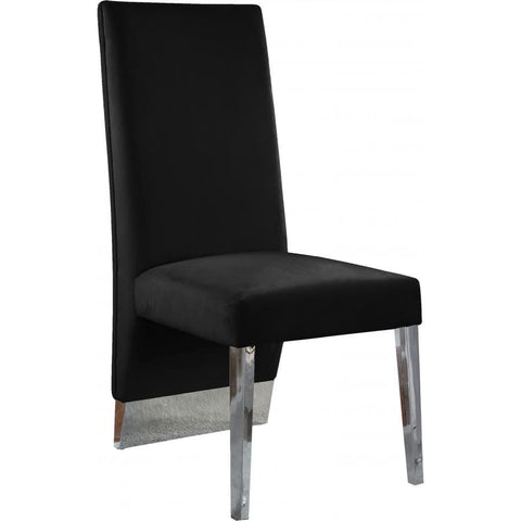 Meridian Furniture Porsha Velvet Dining Chair Set of 2 - Black - Dining Chairs
