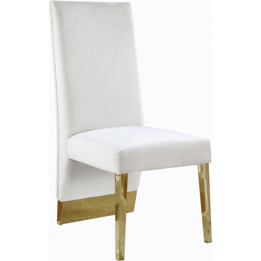 Meridian Furniture Porsha Velvet Dining Chair- Set of 2 - Cream - Dining Chairs