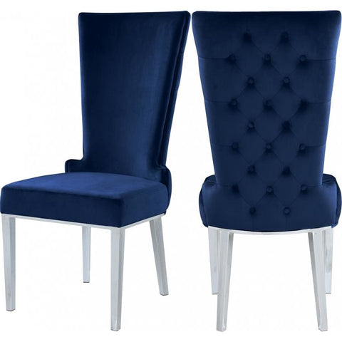 Meridian Furniture Serafina Velvet Dining Chair-Set of 2 - Navy - Dining Chairs