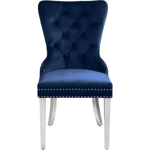 Meridian Furniture Carmen Velvet Dining Chair-Set of 2 - Navy - Dining Chairs