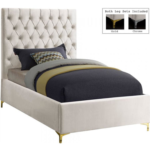 Meridian Furniture Cruz Velvet Twin Bed - Cream - Bedroom Beds