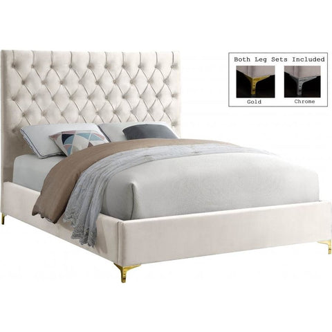 Meridian Furniture Cruz Velvet Queen Bed - Cream - Bedroom Beds