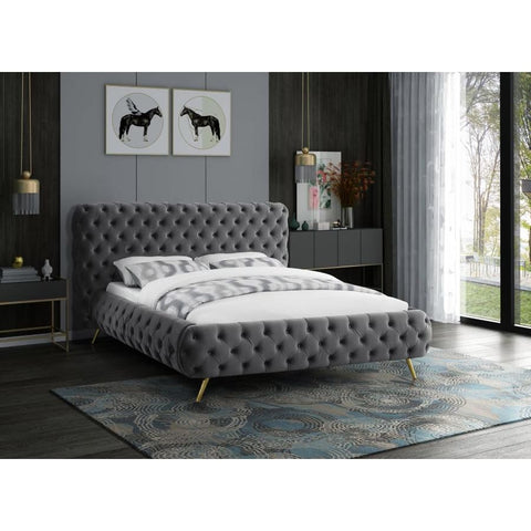 Meridian Furniture Delano Velvet King Bed - Grey - Bedroom Beds