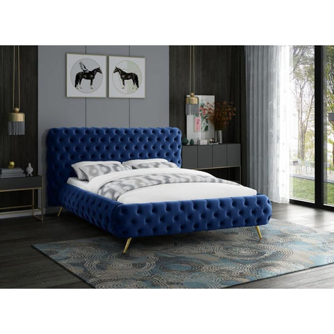 Meridian Furniture Delano Velvet Queen Bed - Navy - Bedroom Beds
