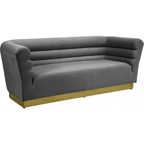 Meridian Furniture Bellini Velvet Sofa - Grey - Sofas