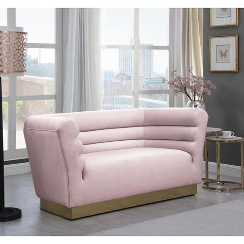 Meridian Furniture Bellini Velvet Loveseat - Pink - Loveseats