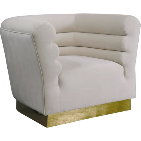 Meridian Furniture Bellini Velvet Chair - Cream - Chairs