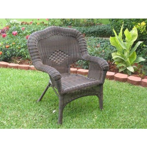 International Caravan Camelback Resin Wicker Patio Chairs (Set of 2) - Antique Pecan - Outdoor Furniture